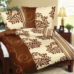 Bavlnené obliečky Chryzantéma hnedá, 140 x 200 cm, 70 x 90 cm