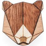 BeWooden Drevená brošňa bear hnedá - universal