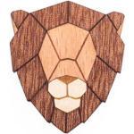 BeWooden Drevená brošňa lion hnedá - universal