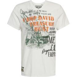 CAMP DAVID Tričko biela / kaki / čierna / oranžová