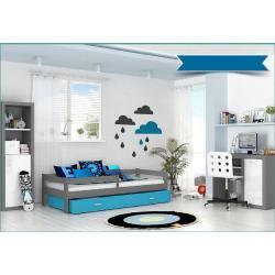 Expedo Detská posteľ HARRY P1 COLOR s farebnou zásuvkou + matrac, 80x160 cm, sivý/modrý
