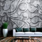 Fototapeta Kvetovaný vzor na striebornom pozadí - Silver background with floral pattern