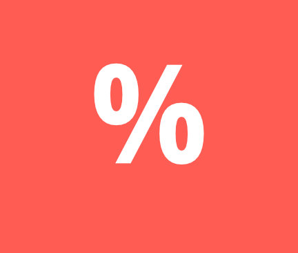 symbol percenta na červenom pozadí