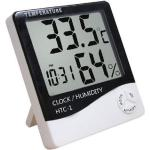 ISO LCD elektronický teplomer a vlhkomer, hodiny, budík, 3466