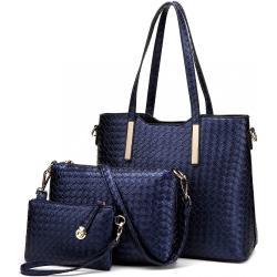 Modrý dámský praktický lakovaný dámský kabelkový set 3v1 Bernie