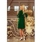 numoco Svetlo zelené dámske šaty s mašľami 195-7 ALICE XXL