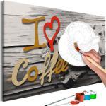 Obraz maľovanie podľa čísiel pre milovníkov kávy - I Love Coffee