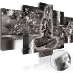 Obraz strieborný Budha na akrylátovom skle - Silver Serenity