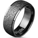 Oceľová obrúčka v čiernej farbe - široký pás zdobený trblietkami, 8 mm - Veľkosť: 70 mm