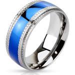 Oceľový prsteň - modrý pruh v strede, vrubkované okraje - Veľkosť: 67 mm