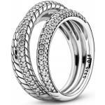 PANDORA Trojitý prsteň s hadíkovým vzorom a pavé zdobením