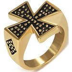 Pečatný prsteň z ocele zlatej farby - Maltézsky kríž - Veľkosť: 54 mm