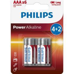 Philips LR03P6BP/10 sada alkalických batérií AAA, 4 + 2 ks