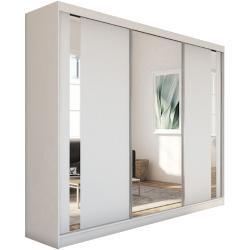 Skriňa s posuvnými dverami a zrkadlom GAJA + Tichý dojazd, 240x216x61, biela