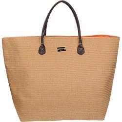 Veľká béžová plážová taška s oranžovými prúžkami univerzálne