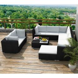 vidaXL 10-dielna záhradná sedacia súprava s vankúšmi čierna polyratanová