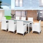 vidaXL 9-dielna záhradná jedálenská súprava polyratan krémovo-biela