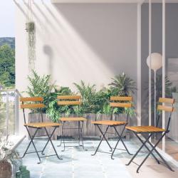 vidaXL Skladacie bistro stoličky 4 ks akáciový masív