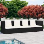 vidaXL Záhradná posteľ s podložkami a vankúšmi čierna polyratanová