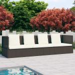 vidaXL Záhradná posteľ s podložkami a vankúšmi hnedá polyratanová