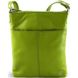Zelená dámská kožená zipová crossbody kabelka Jenny Arwel